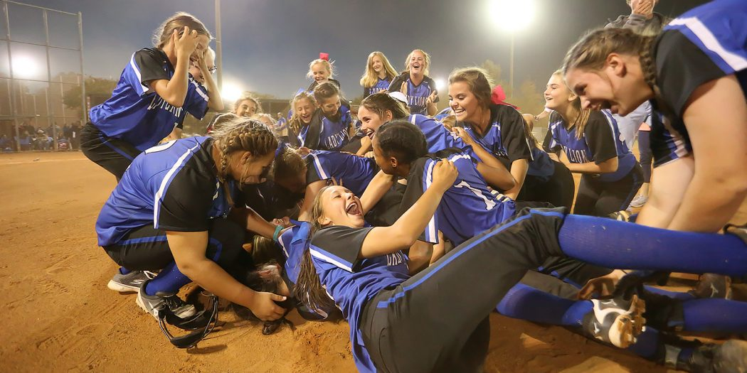 Hamilton players celebrate after winning the class 1A Softball Championship. The 2016 MHSAA Slow Pitch Championships were held Saturday, October 22, 2016 at Freedom Ridge Park in Ridgeland. Photo by Keith Warren